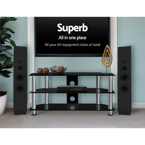 Tempered Glass Entertainment Unit TV Stand Media Shelves 3 Tiers - Afterpay - Zip Pay - Free Shipping - Dodosales -
