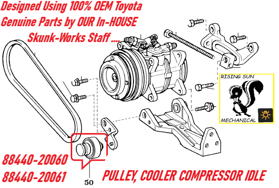 NEW PULLEY, COOLER COMPRESSOR IDLE , 88440-20060 / 88440-20061 100% Toyota Genuine Parts SKUNK-WORKS Design and Engineering make it ALIVE AGAIN !