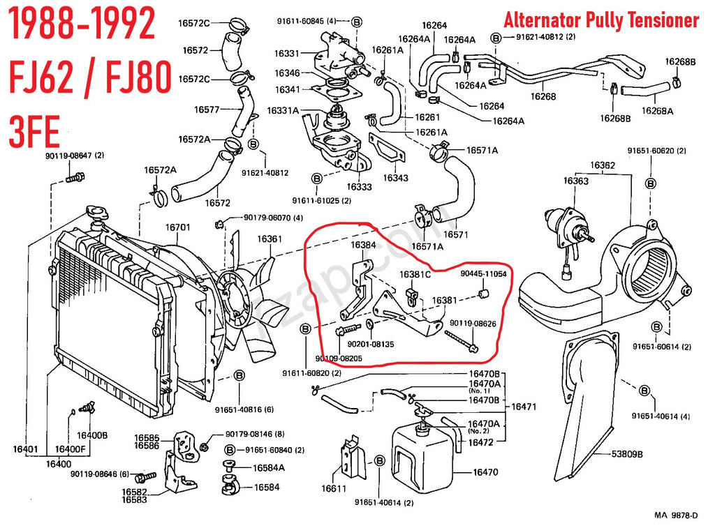 KIT # 2  ( Newly Updated )  100% Toyota Genuine Parts 2F  Drive Belt & Pulley Tension Hardware For  Alternator & Smog Pump Adjustment Feature Restoration & Needed Repairs Kit    1/79-1992   FJ40, FJ55, FJ60, FJ62, FJ80 2F 3FE