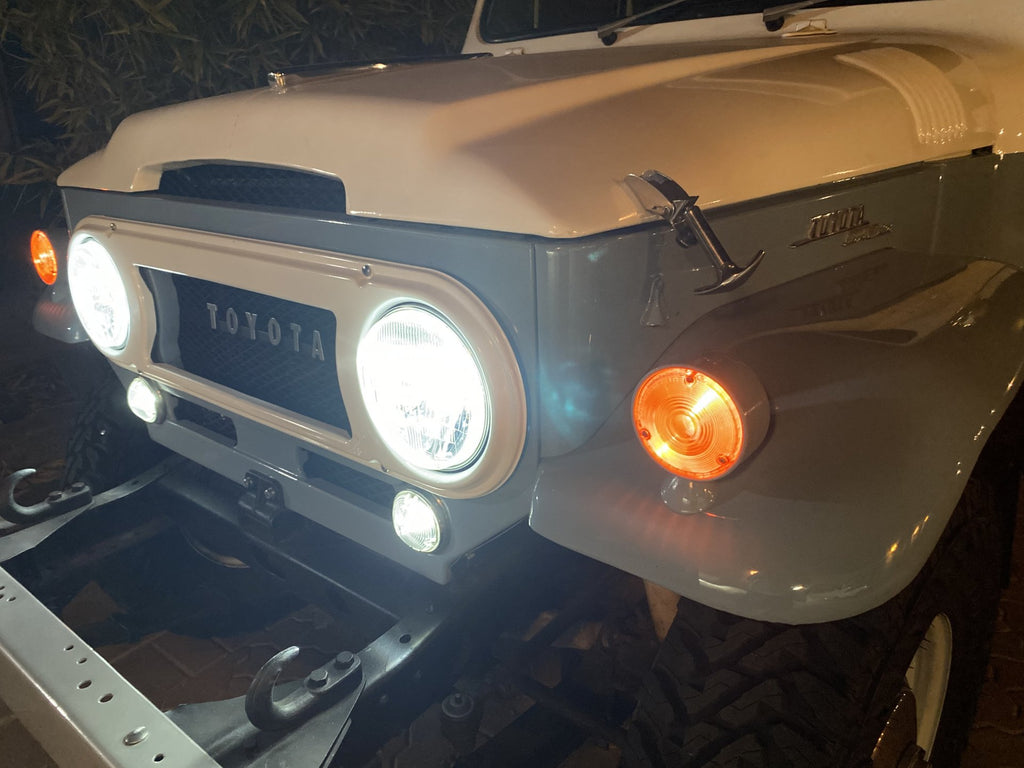 "OEM 24v & 12v "" KUSTOM "" KOITO Kit  Cool White LED  JDM ( NON-USA) TOYOTA OEM Parts Maker H4 Semi Sealed Beam LED Headlights & Sub Harness Kit w/ Factory Instructions Manual  FJ40  FJ60  BJ70"