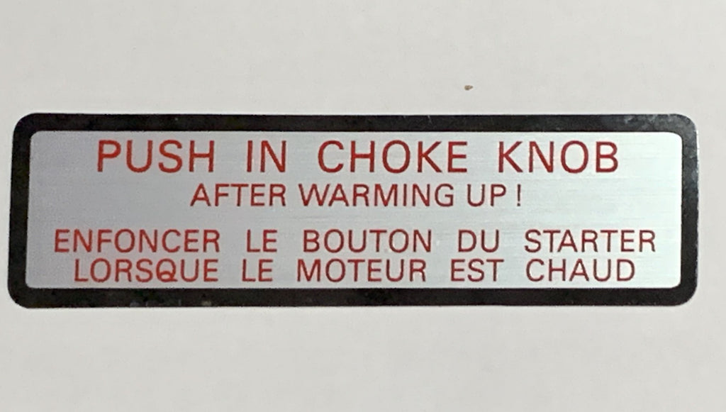 NON-USA  EUR Spec. Toyota CHOKE Instructions  Decal /  Emblem   , FJ60, HJ60 , HJ62 , HJ47 , HJ45 , 2F , 3FE, 1HZ  3B , 12HT