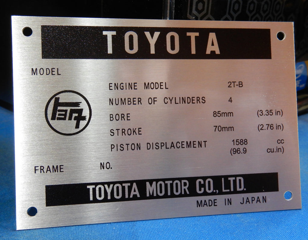 2T-B  Celica  Engine Bay DATA ID Plate