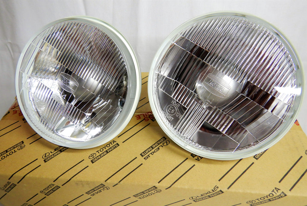 LED  KOITO JDM ( NON-USA) TOYOTA OEM Parts Maker H4 Semi Sealed Beam LED Headlights & Sub Harness Kit w/ Factory Instructions Manual  FJ40  FJ60