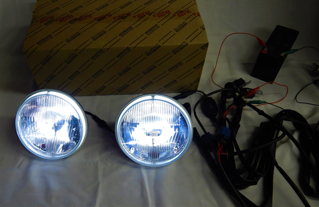 24v & 12v  KOITO's KUSTOM Cool White LED  JDM ( NON-USA) TOYOTA OEM Parts Maker H4 Semi Sealed Beam LED Headlights & Sub Harness Kit w/ Factory Instructions Manual  FJ40  FJ60  BJ70