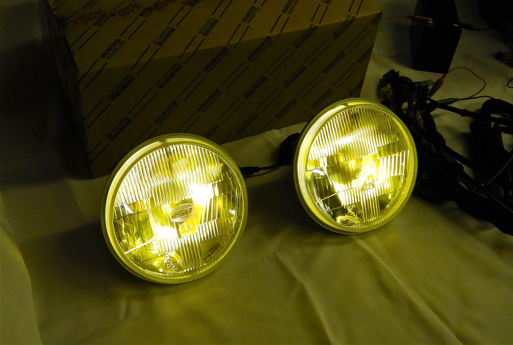 12v  & 24v KOITO's KUSTOM AMBER LED  JDM ( NON-USA) TOYOTA OEM Parts Maker H4 Semi Sealed Beam LED Headlights & Sub Harness Kit w/ Factory Instructions Manual  FJ40  FJ60  BJ70