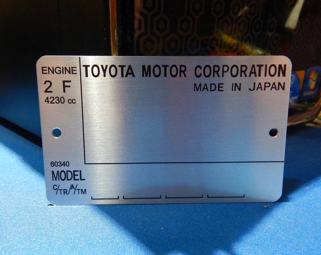 Late Model 2F Engine Bay DATA ID Plate ( 8/80 - Later )