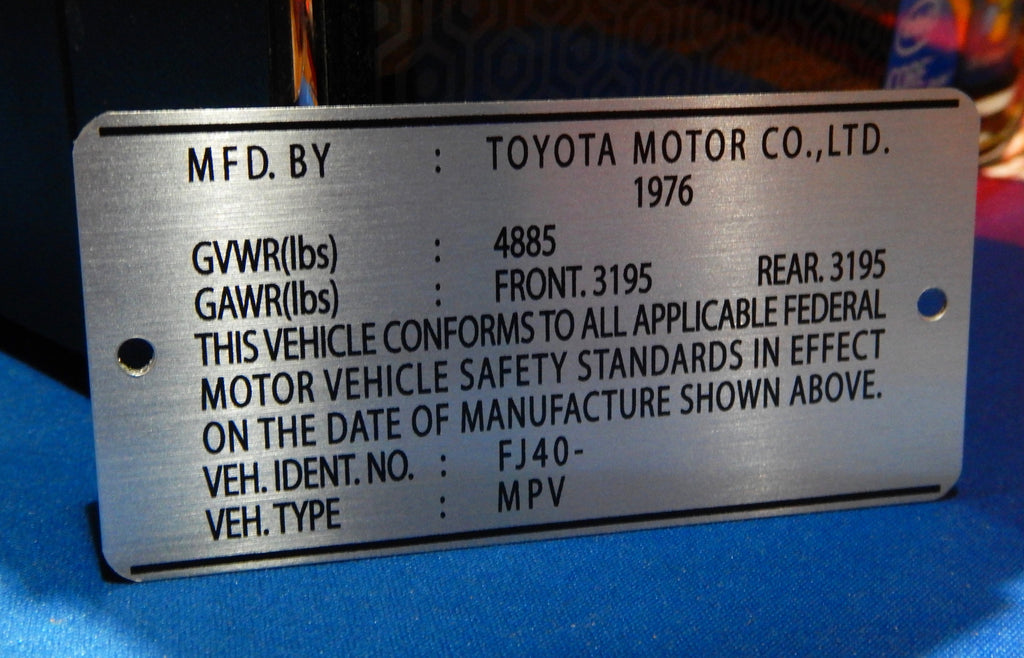 1976  Door Jamb DATA ID Plate