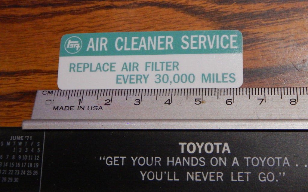 TEq AIR CLEANER SERVICE Decal Toyota Plate  Label  JDM FJ40 , FJ45,  FJ55 BJ40, BJ42 , HJ60 , HJ62 , HJ47 , HJ45 , FJ80   HZJ80