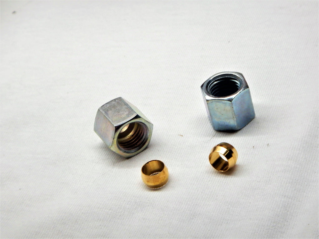 NOS OEM TOYOTA Glass Bowl  Fuel Filter ,qty x 2 Compression Nuts Qty x 2 Solid Brass Compression Ferrells , fits Early  FJ25 , FJ40  1956- 1967 & Later some modles