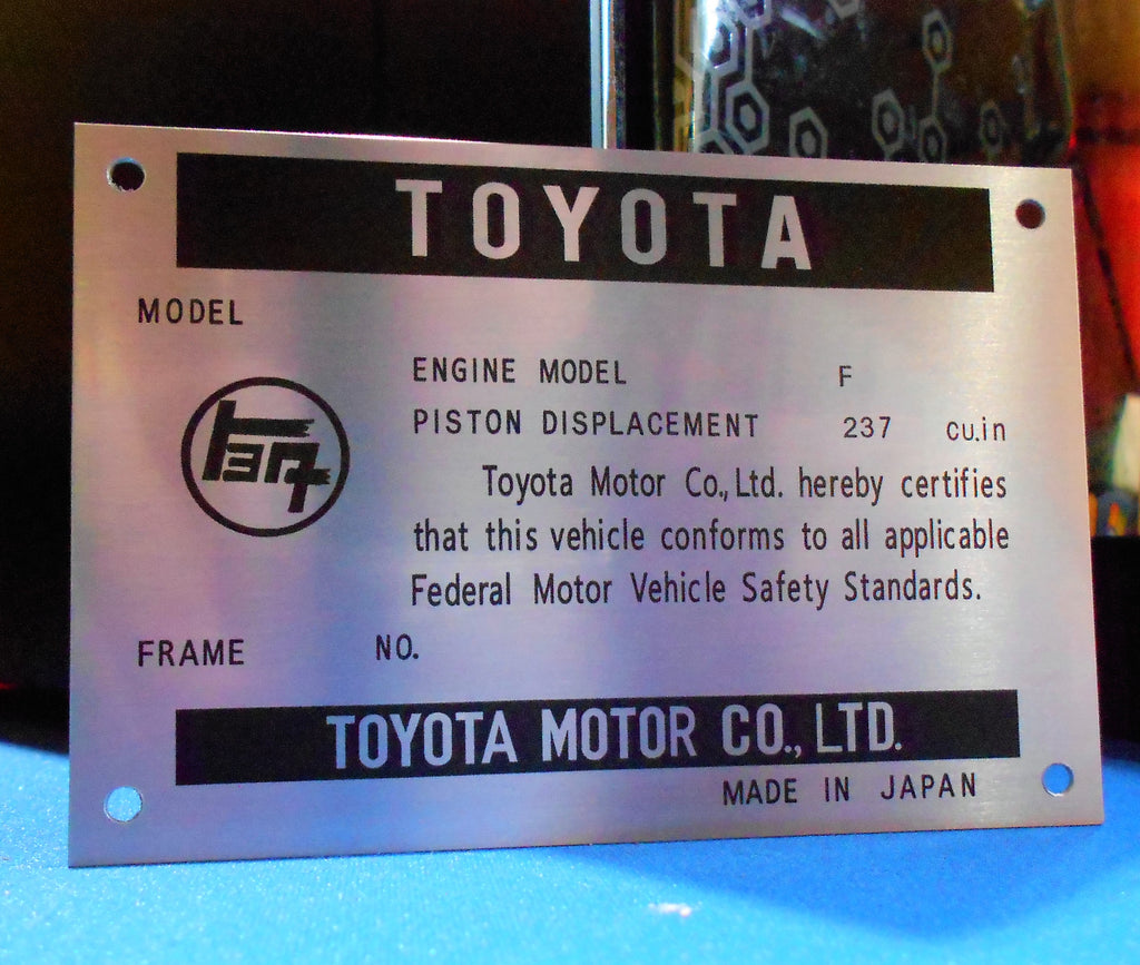 Early California Spec.  F 1.5  Engine Bay DATA ID Plate