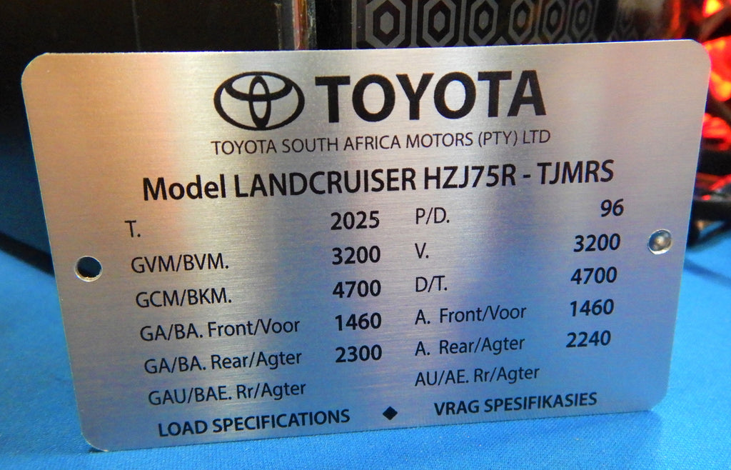 HZJ75  Engine Bay DATA ID Plate