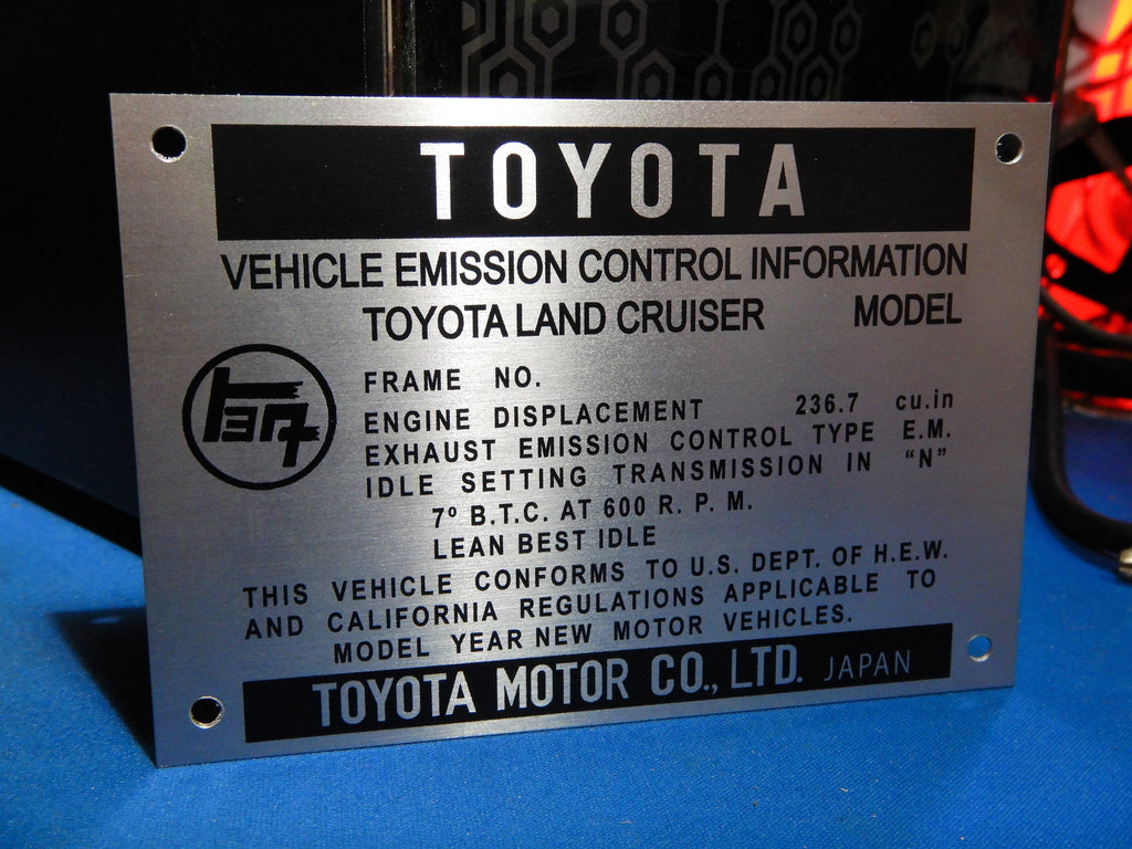 1971 California Emissions   Engine Bay DATA ID Plate