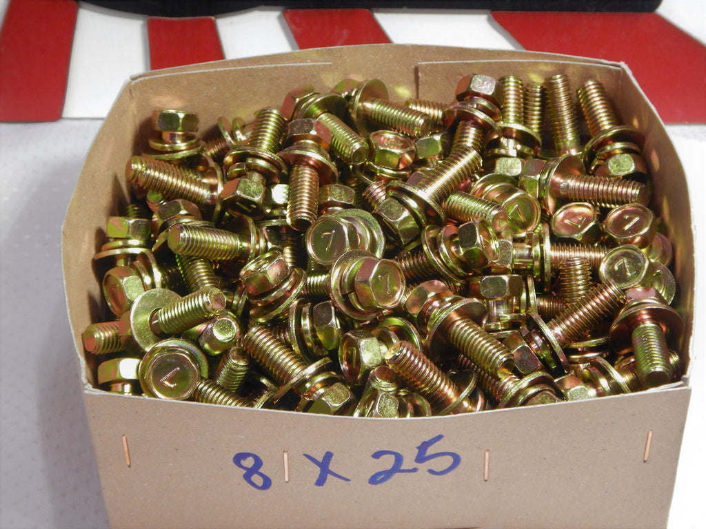 M8 x 1.25 x 25mm J.I.S. SEMS GOLD ZINC PLATED STAMPED  #7 HEAD BOLTS OEM MADE IN JAPAN , SOLD in PACKS of 10pcs. Each