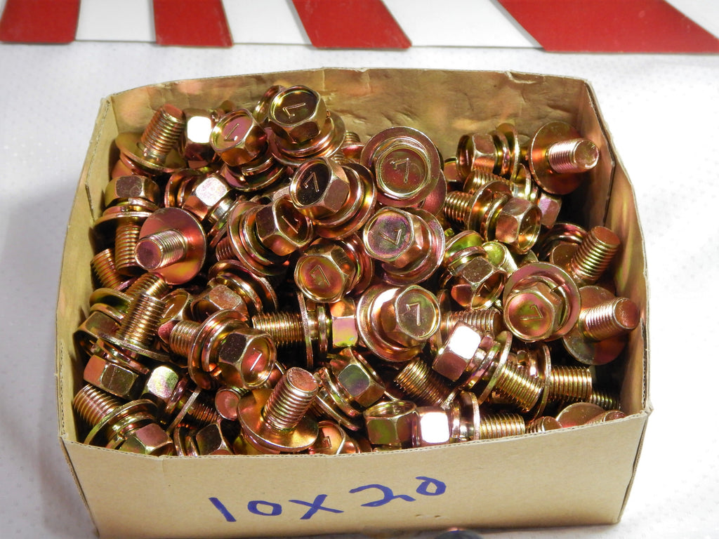 M10 x 1.25 x 20mm J.I.S. SEMS GOLD ZINC PLATED STAMPED  #7 HEAD BOLTS OEM MADE IN JAPAN , SOLD in PACKS of 10pcs. Each