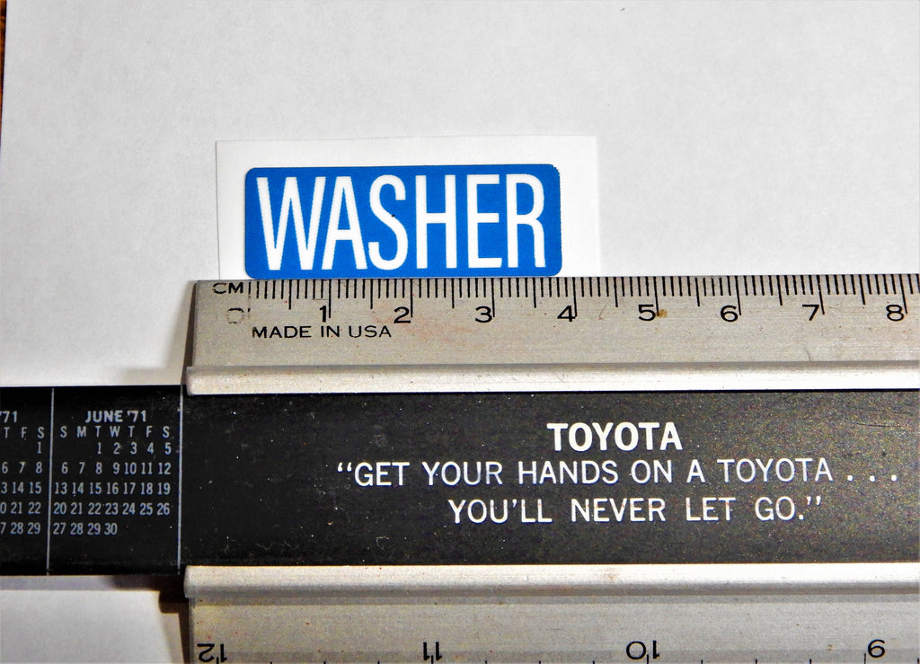 USA SPEC. ONLY OEM WASHER FLUID BOTTLE JAR  Decal Toyota  Label  NOT CANADA FJ40 , FJ45,  FJ55 BJ40, BJ42 , HJ60 , HJ62 , HJ47 , HJ45 , FJ80   HZJ80