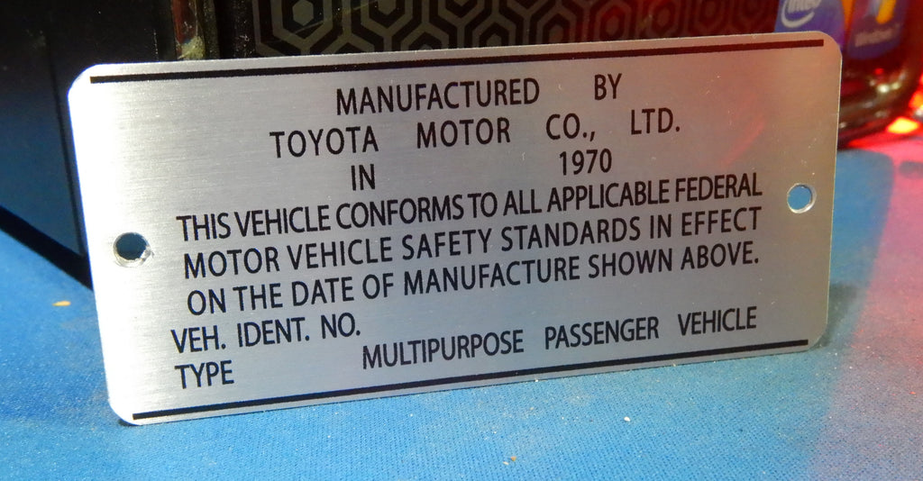 1970  Door Jamb DATA ID Plate