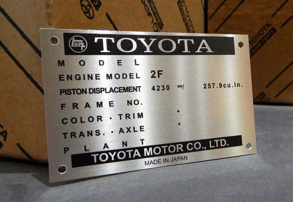 1975 FJ40, FJ55   Engine Bay DATA ID Plate