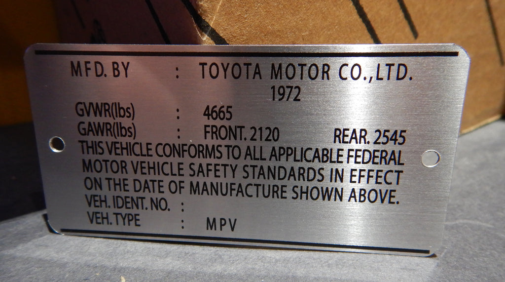 1972  Door Jamb DATA ID Plate