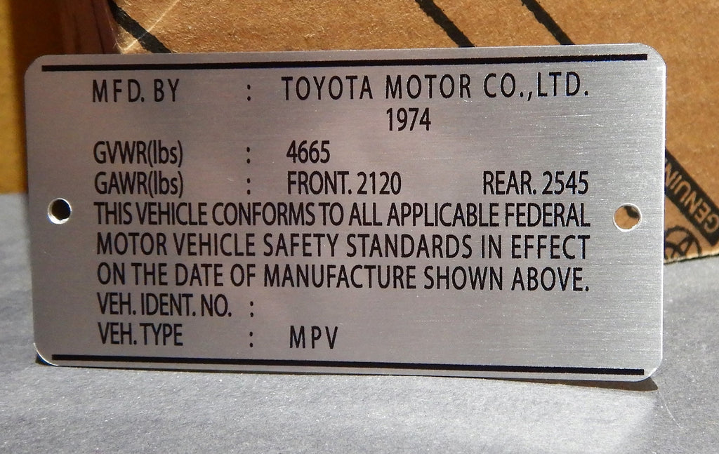 1974  Door Jamb DATA ID Plate