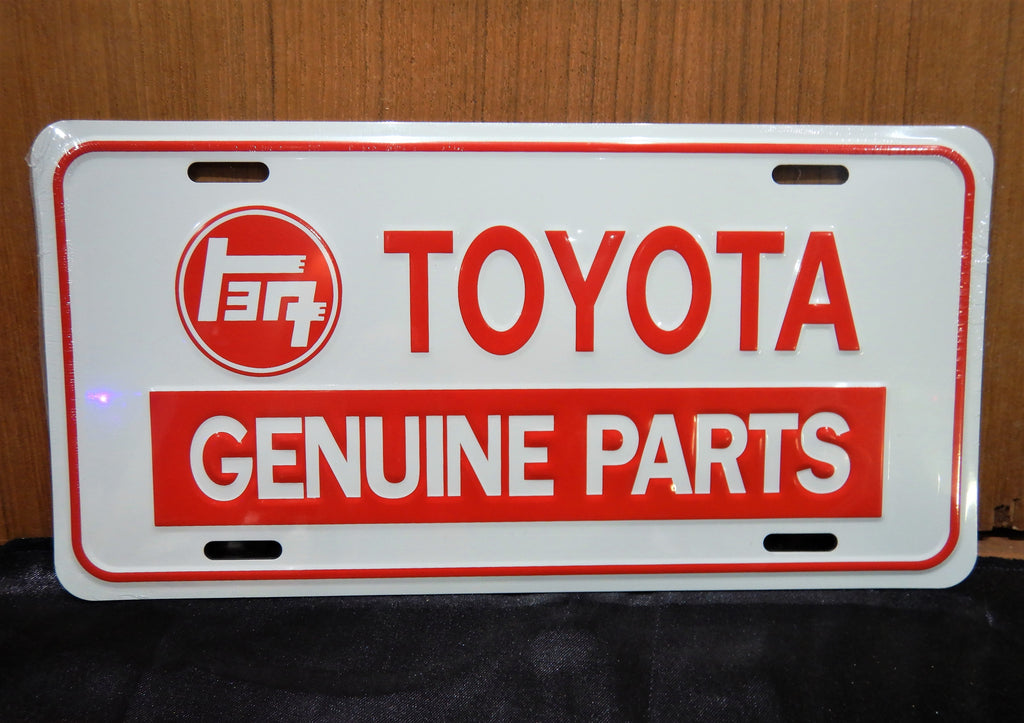 WHITE TEq TOYOTA GENUINE PARTS  License Plate , Die Stamped Aluminum