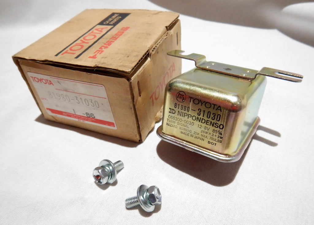 FJ55 Flasher Relay 81980-31030 NIPPONDENSO ( NOS ) w/ nos mounting hardware (  FJ55 Only  )
