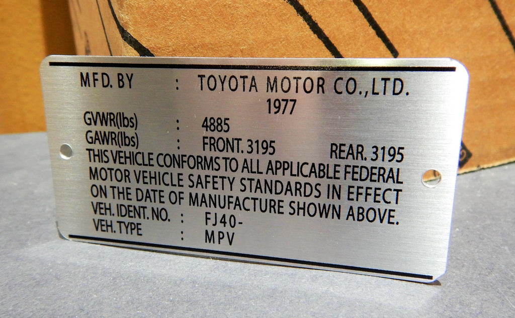 Early 1977 Smaller   Door Jamb DATA ID Plate