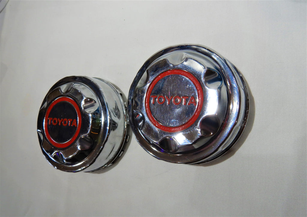OEM TOYOTA Notched Chrome Wagon Wheel Center Caps Set FJ40 , FJ55 , FJ60 , FJ62 , PRADO