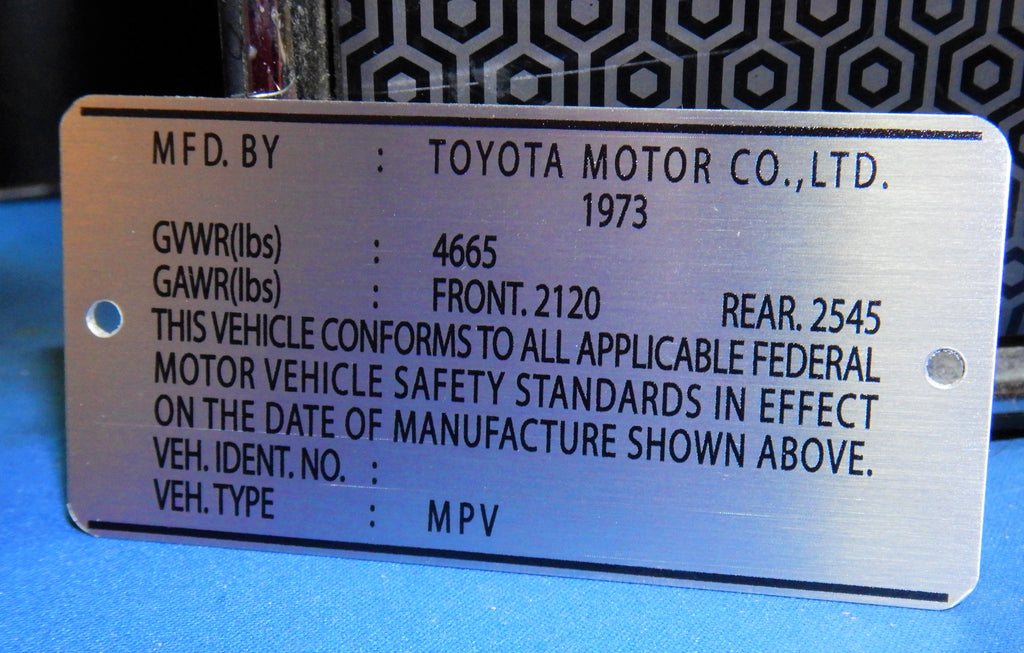 1973  Door Jamb DATA ID Plate