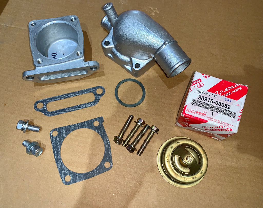 OEM Toyota Parts Thermostat Housing 's  Kit for 8/80 - 1988  2F Land Cruiser FJ40 FJ60 WITH OIL COOLER  Includes all needed parts for a Plug and Play Repair