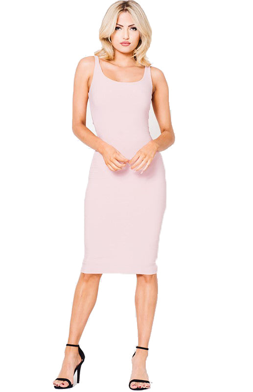 BLUSH DOUBLE LAYERED SOLID MIDI DRESS