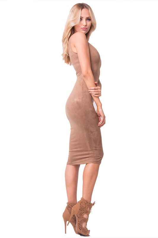 BROWN FAUX SUEDE MIDI DRESS