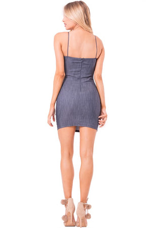 DARK DENIM BUSTIER CUT MINI DRESS