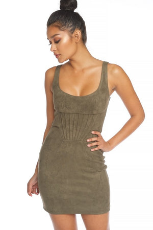 OLIVE PINTUCK SUEDE DRESS