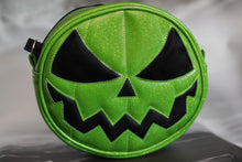 Load image into Gallery viewer, Green Glitter Jack O'Lantern Bag with Black Eyes and Mouth