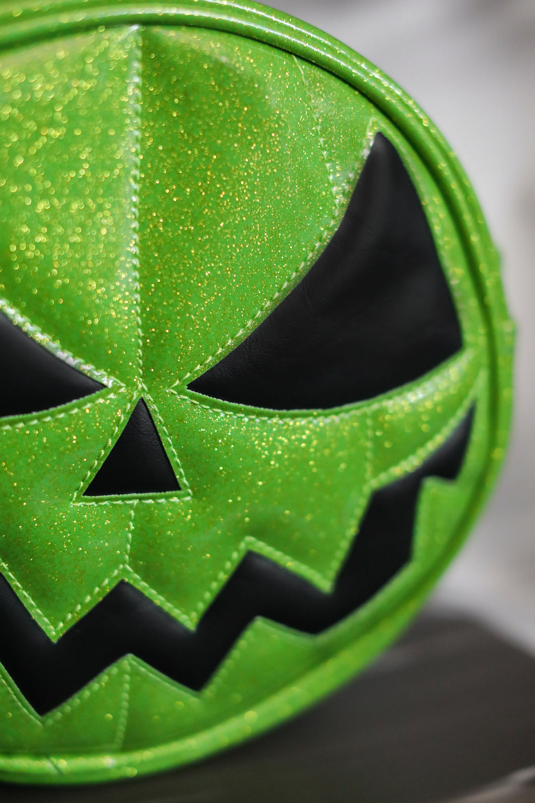 Green Glitter Jack O'Lantern Bag with Black Eyes and Mouth