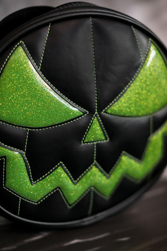 Hand Crafted : Black and Green Mean Pumpkin