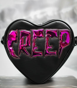 "Black Heart Purse with Chrome Lettering ""Creep"""