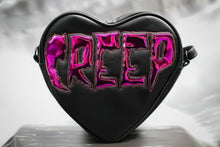 "Load image into Gallery viewer, Black Heart Purse with Chrome Lettering ""Creep"""