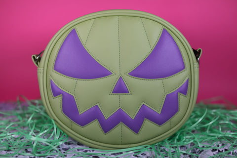 Hand Crafted : Pastel Mean Face Green and Eggplant purple