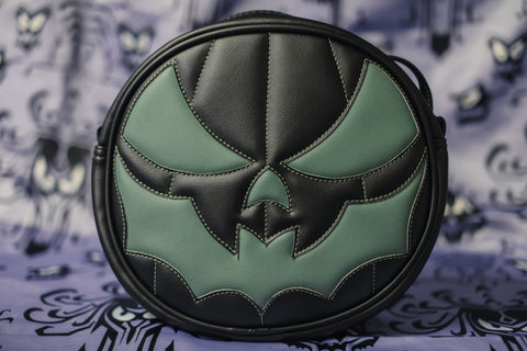 Black and Sage green pumpkin bag with bat mouth.