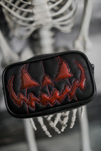 Load image into Gallery viewer, Rectangular Black Pumpkin Bag with Glitter Eyes and Bat Mouth