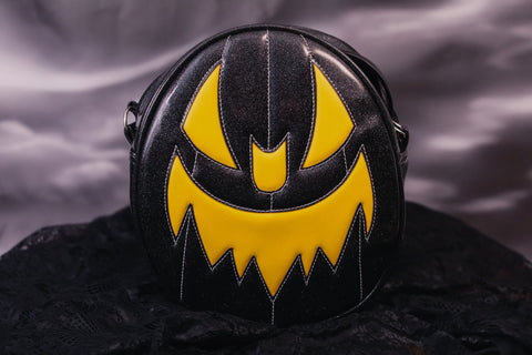 Hand Crafted : Oval Pumpkin Black and Yellow