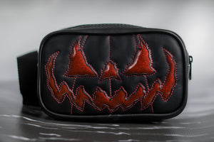 Rectangular Black Pumpkin Bag with Glitter Eyes and Bat Mouth