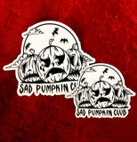 White and black sad pumpkin club with three pumpkins sticker. Large and small.