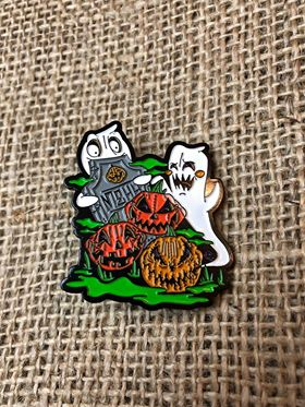 Lapel Pin with two ghosts, 3 jack-o-lanterns and a headstone.