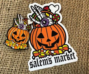 Salem's Market Lapel Pin and Sticker