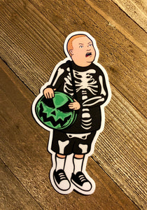 Boy with Skeleton Costume and a Pumpkin Purse sticker with a Wooden Background