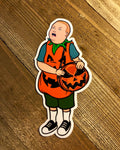 boy with Pumpkin Costume and Pumpkin Purse sticker on wooden background