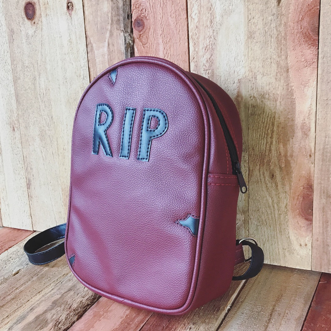 Hand Crafted : Wine RIP head stone Back Pack