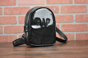 Hand Crafted : Small All Black RIP HEADSTONE crossbody